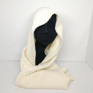 Vintage Aris Beige Cable Knit Head Hooded Scarf